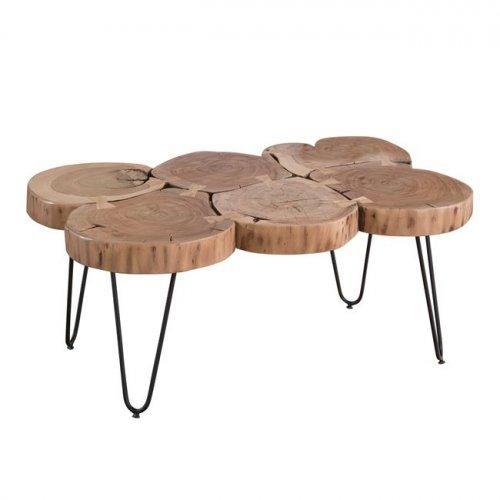 Couchtisch Massiv Holz Akazie Beistelltisch 115x70x40 Cm