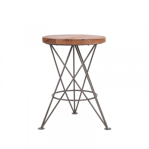 Barstool wooden seat Industrial Antique Paris Black-Woodwell