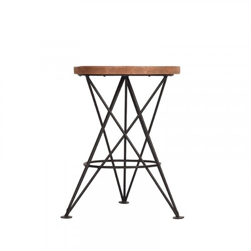 Stool wooden seat Industrial Antique Paris Grey-Woodwell