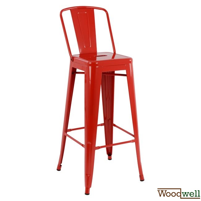 Metall barhocker rot mit lehne woodwell for Barhocker industrial style