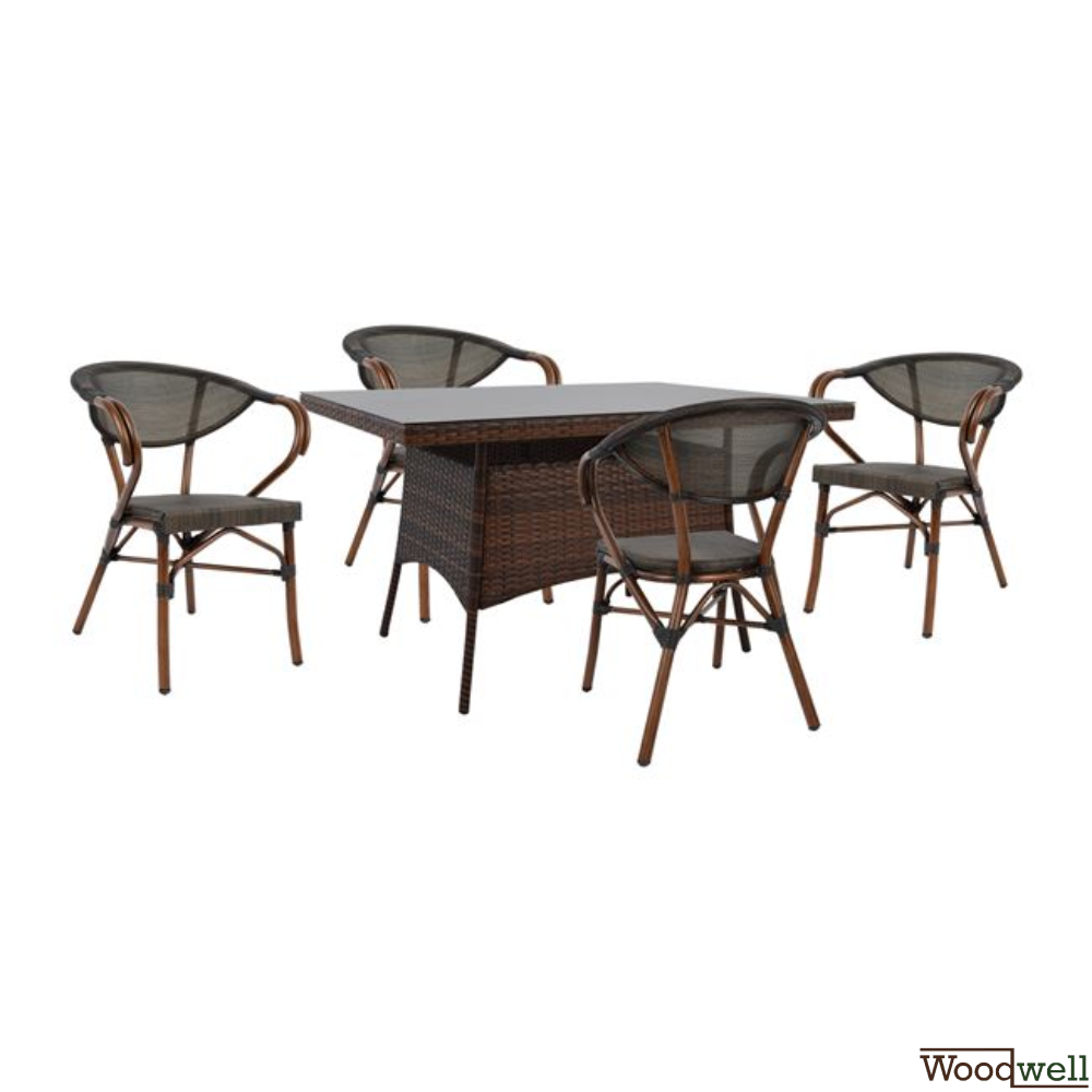 9 pcs. Dining table set table upholstered with rattan in brown color +  glass + 9 armchairs with modern design great durability with aluminum frame  ...