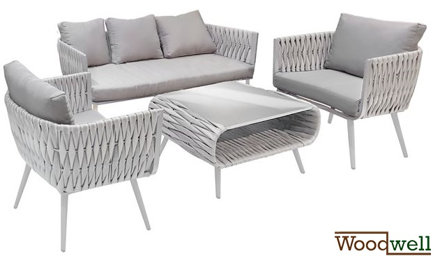 gartenm bel sofa set aluminium wicker rattan 4tlg wei. Black Bedroom Furniture Sets. Home Design Ideas