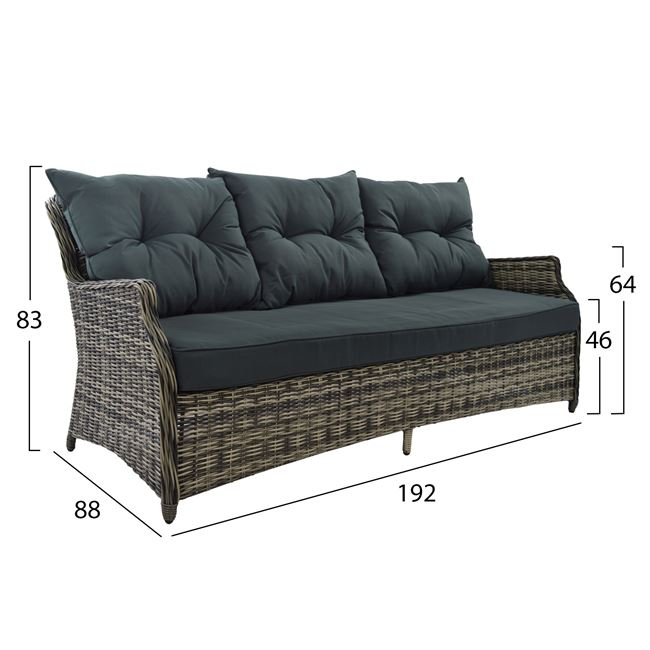 gartenm bel set 4 tlg aus polyrattan grau. Black Bedroom Furniture Sets. Home Design Ideas
