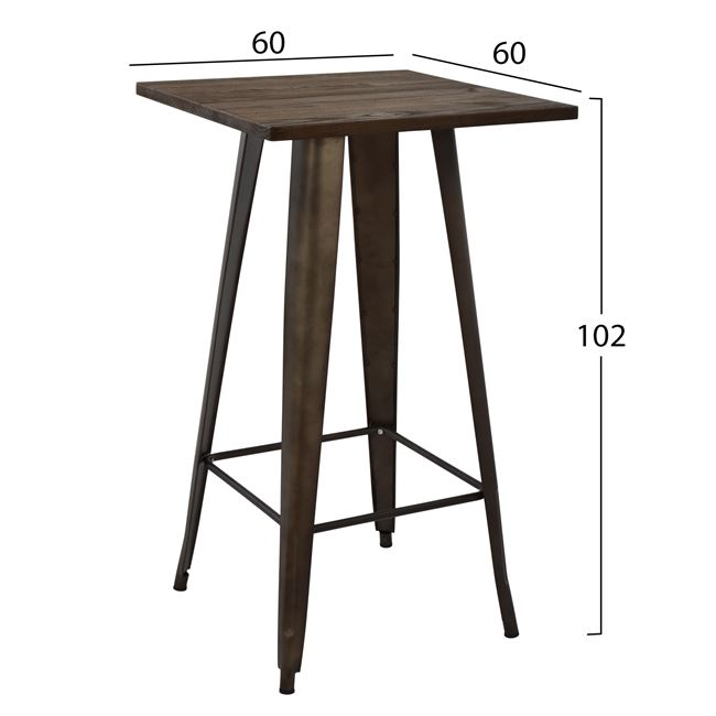 Bar tisch industrial design holz tischplatte 60x60x102 cm for Industrial design tisch