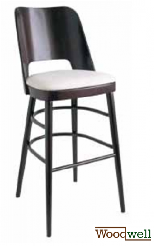 Barstool made of beechwood with light upholstery