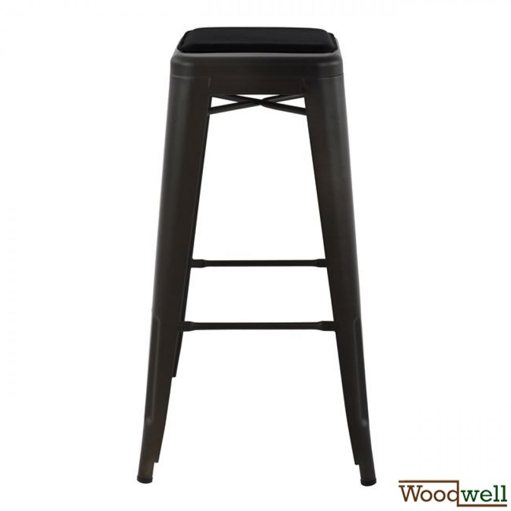 "Metal barstool in the color ""rusty"" with upholstery in black"