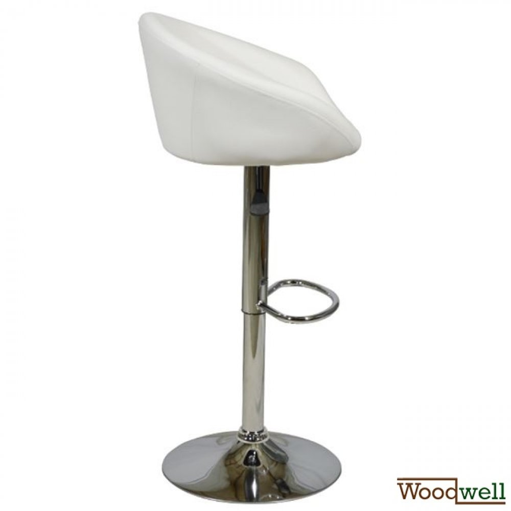 Bar stool with metal rack and white upholstery
