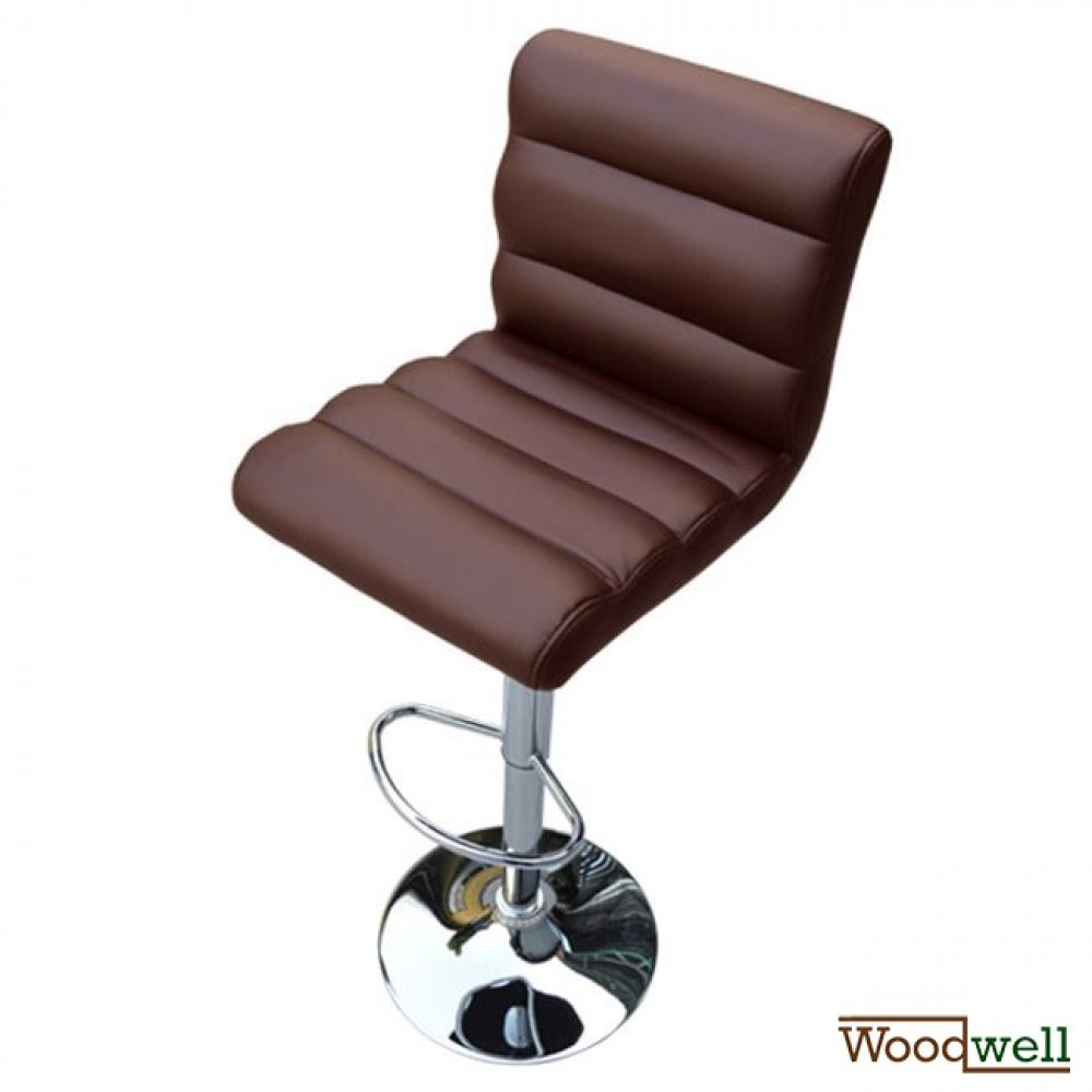 Modern barstool with brown imitation leather cover