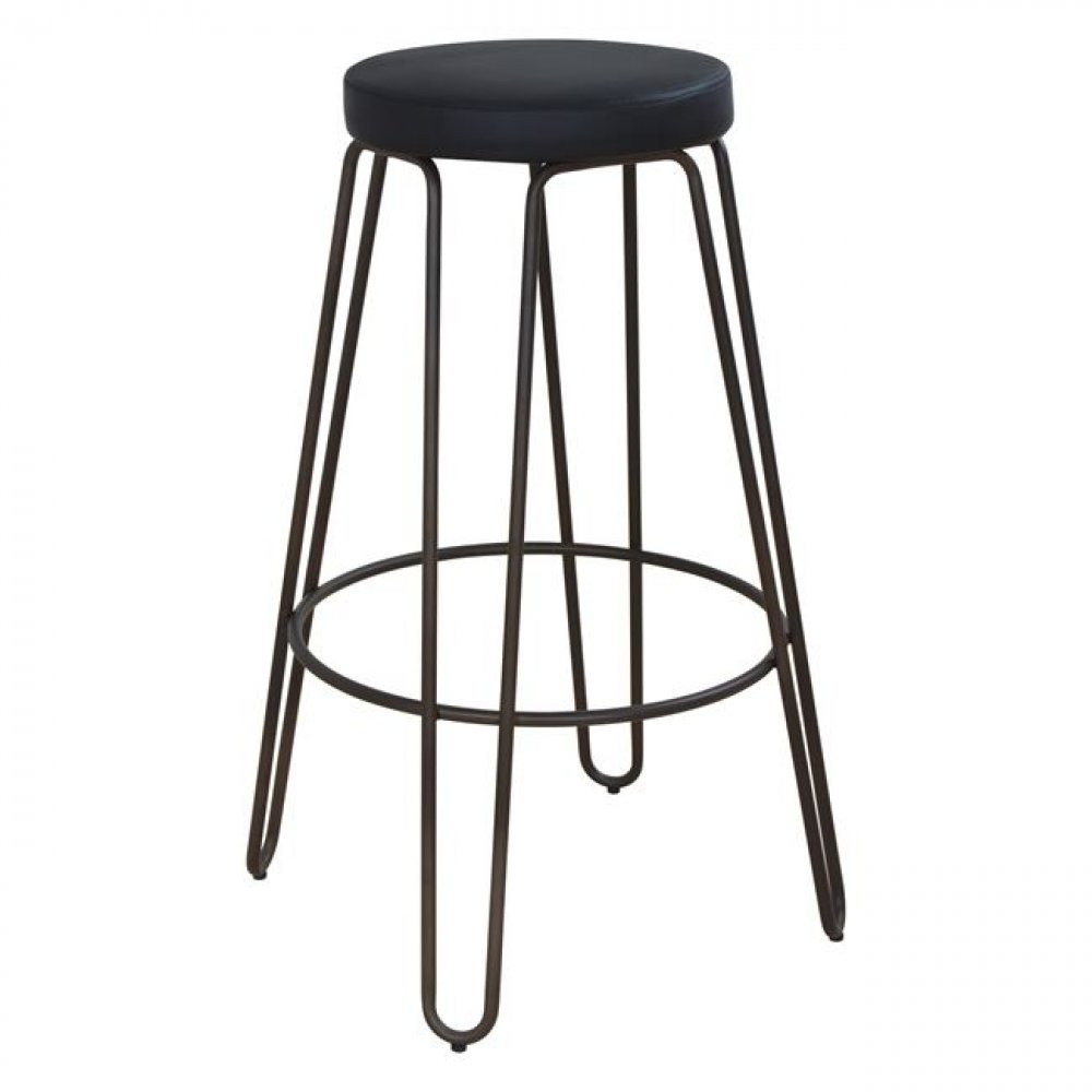 Barstool without backrest made of metal in Rusty | PU black