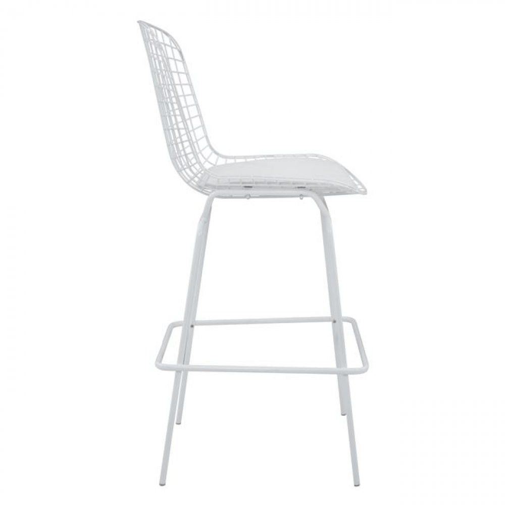 Bar Stool Harry Bertoia Wire White-Woodwell