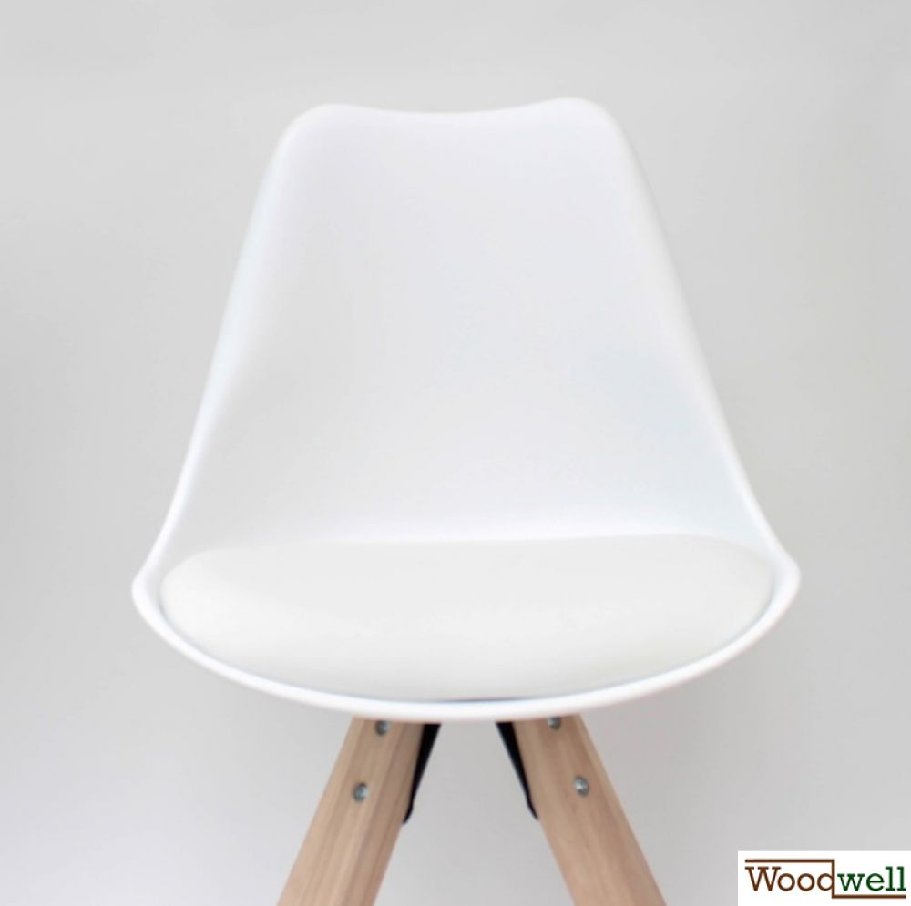 Kitchen and dining room chair milan in white pp pvc and wood