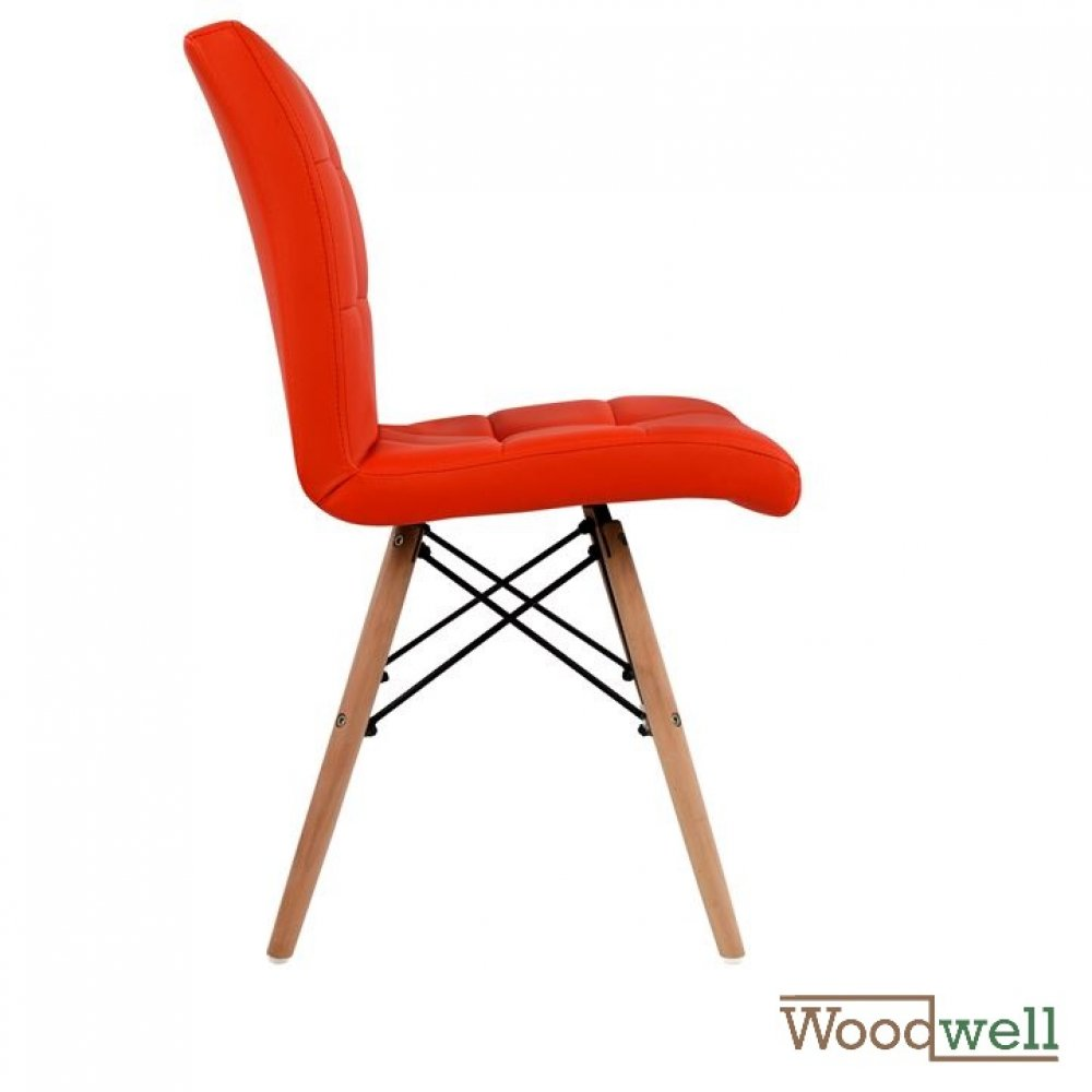 Design chair PINK with solid wood legs and imitation leather, in red