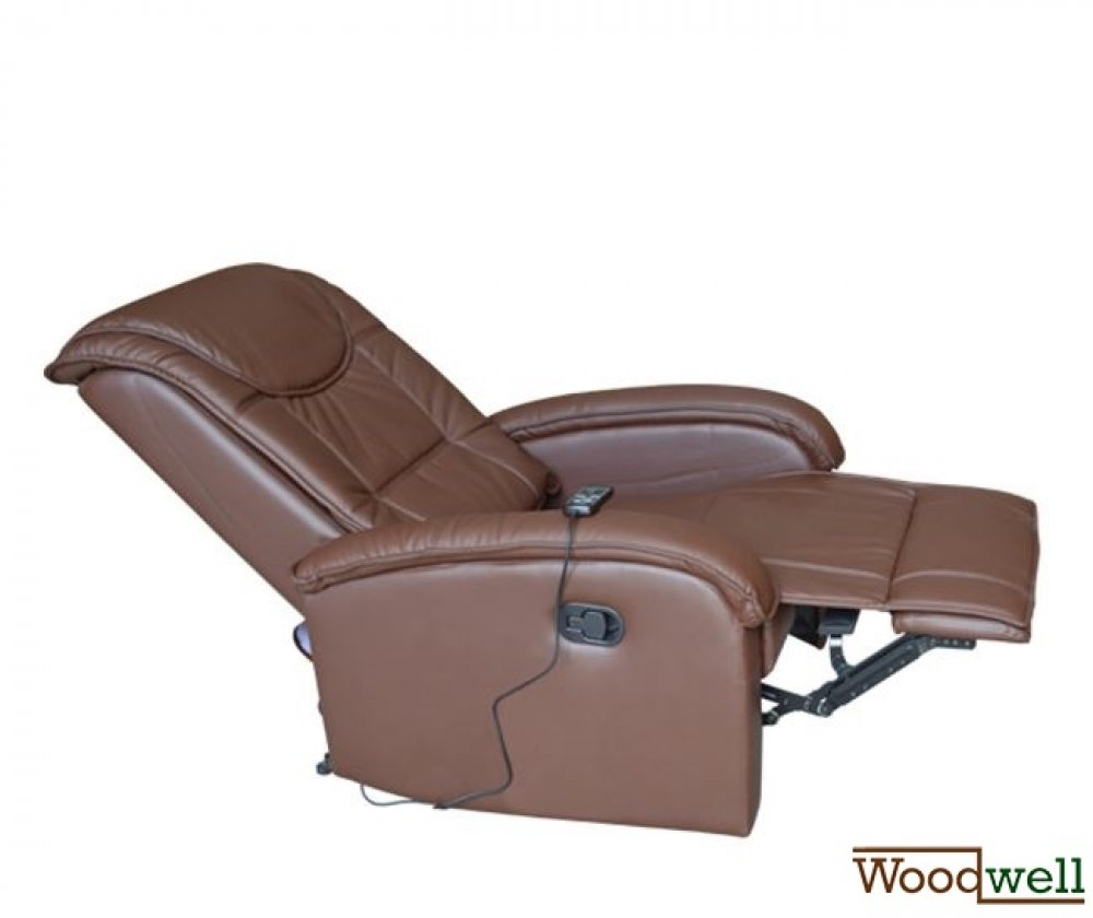 """Relax Me"" leatherette armchair with massage function in brown"