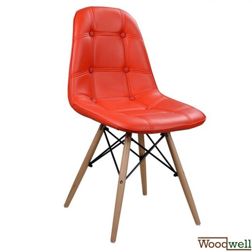design retro stuhl nely aus kunstleder pu mit holzbeine in rot woodwell. Black Bedroom Furniture Sets. Home Design Ideas