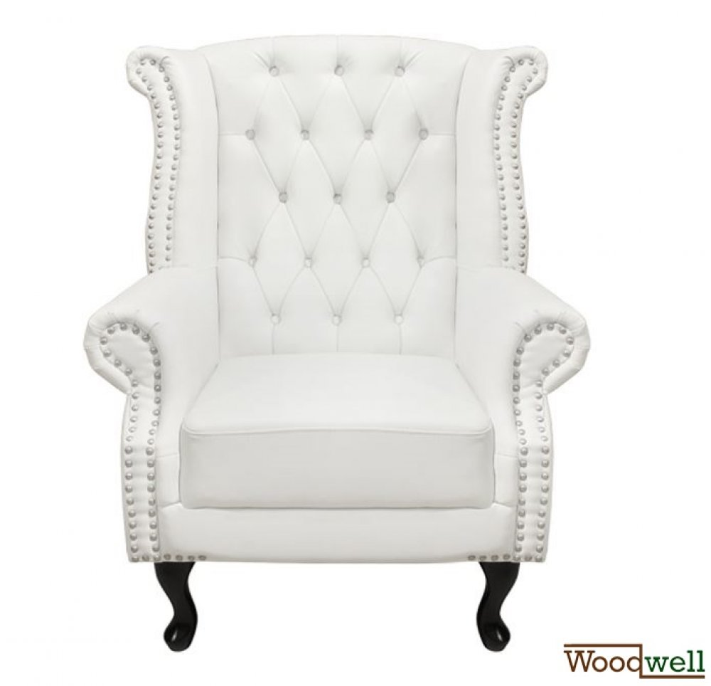 """Chesterfield"" high-back armchair in white"