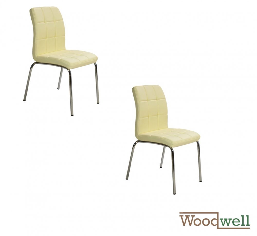 Kitchen chair with nickel chain and leather | In cream color