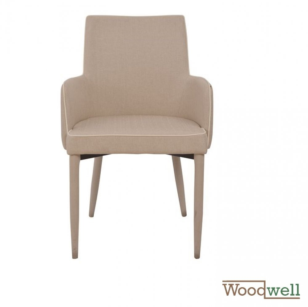 Modern shell chair with armrests and fabric covered, in beige