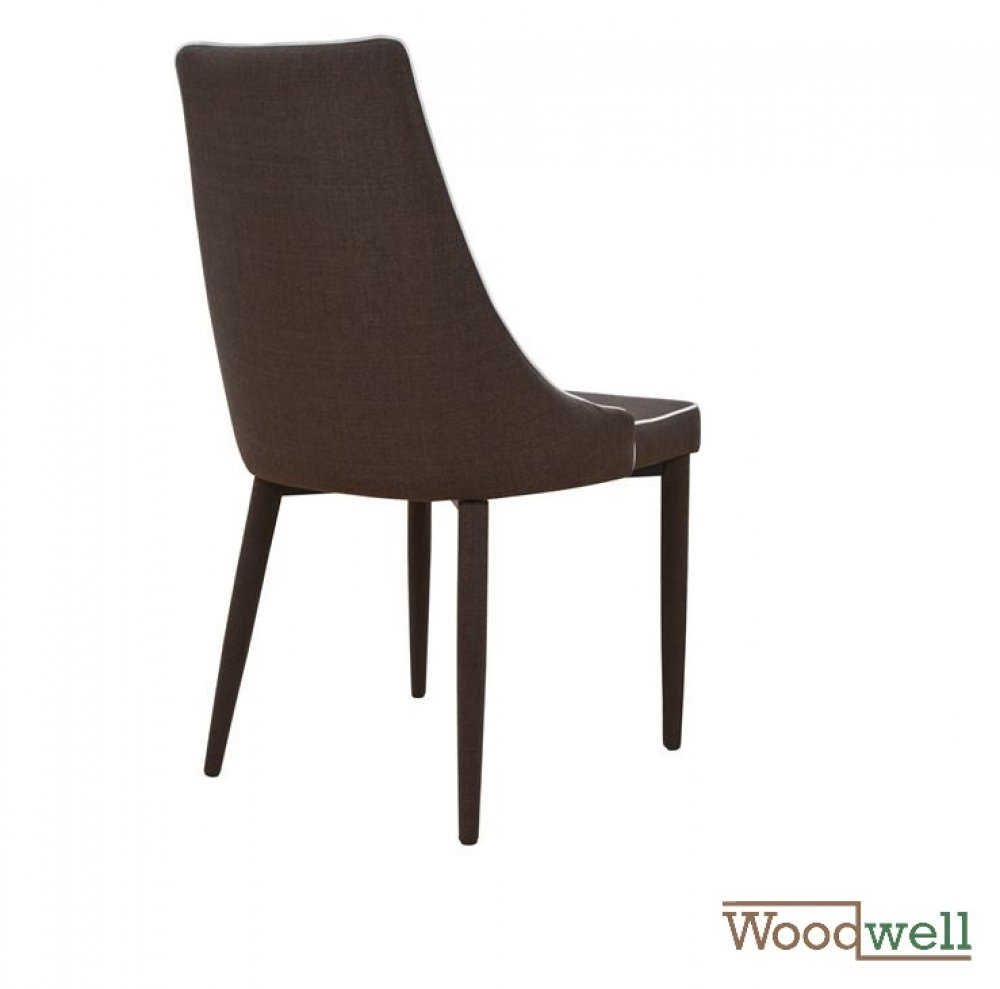 Modern shell chair covered with brown fabric and white edge