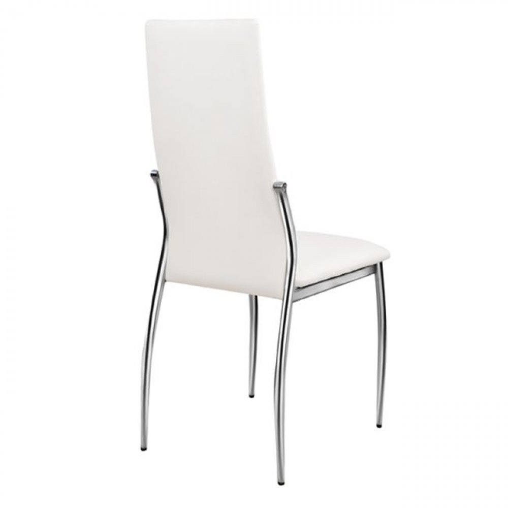 Kitchen Chair /KIM /White PU Leather With Metal Chrome Frame /Woodwell