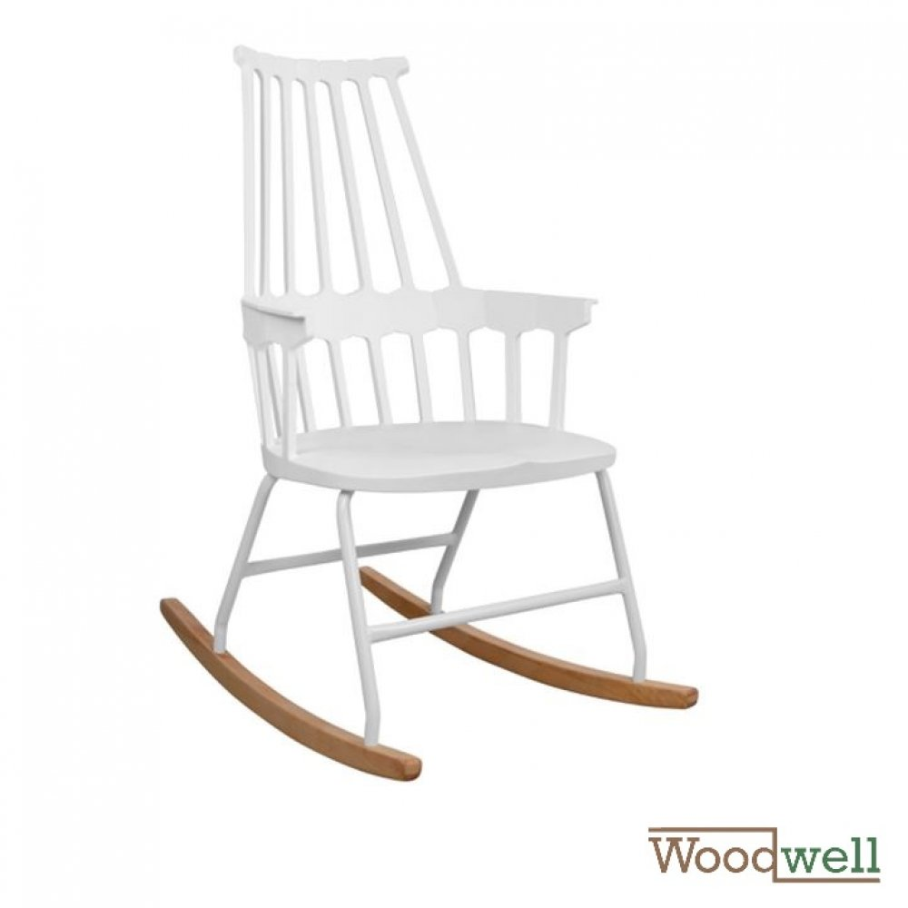 Rocking chair YVONNE, in white