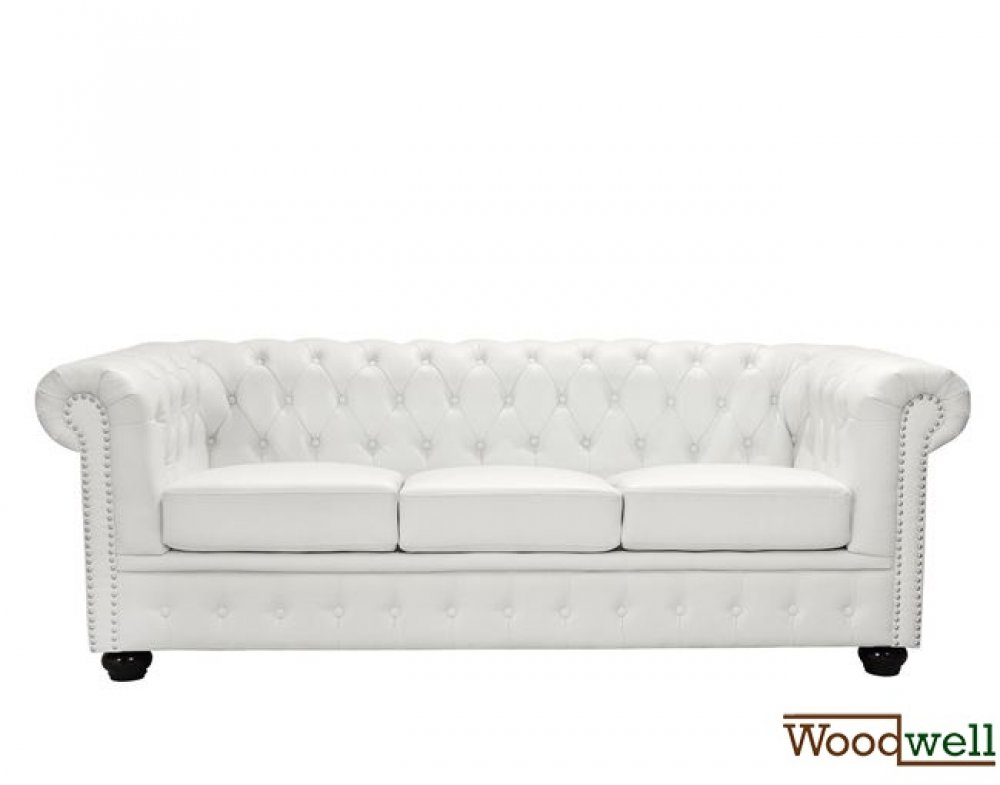 sofa chesterfield 3 sitzer wei en kunstleder woodwell. Black Bedroom Furniture Sets. Home Design Ideas