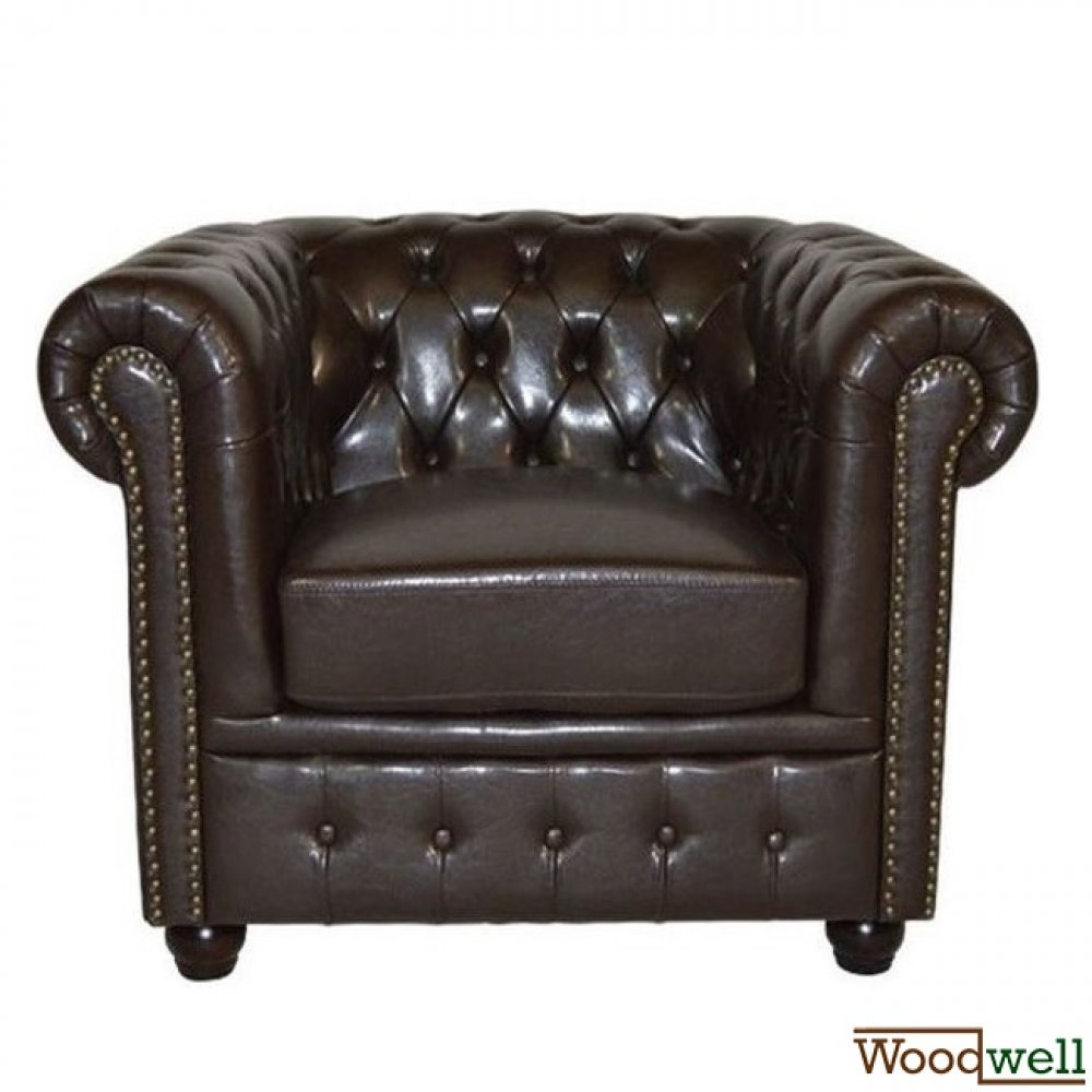 """Chesterfield"" armchair with leatherette cover in dark brown"