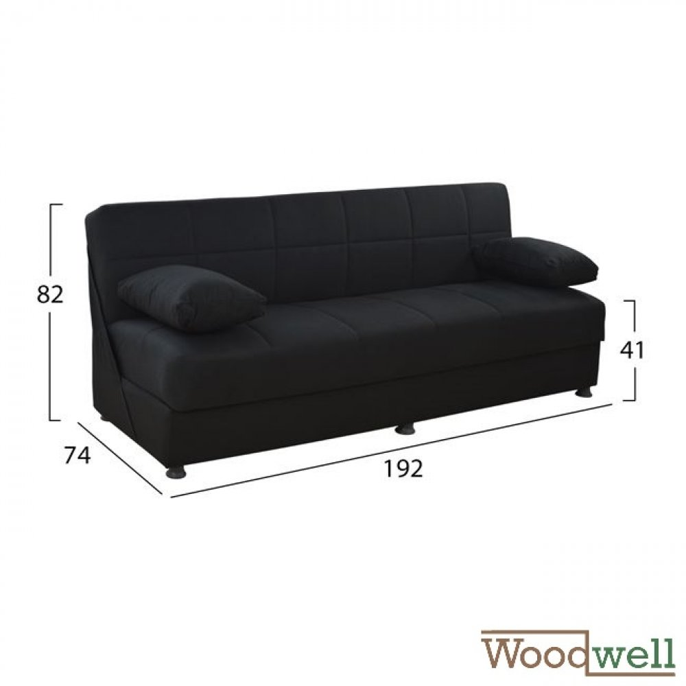 3 seater sofa bed with storage space | In black