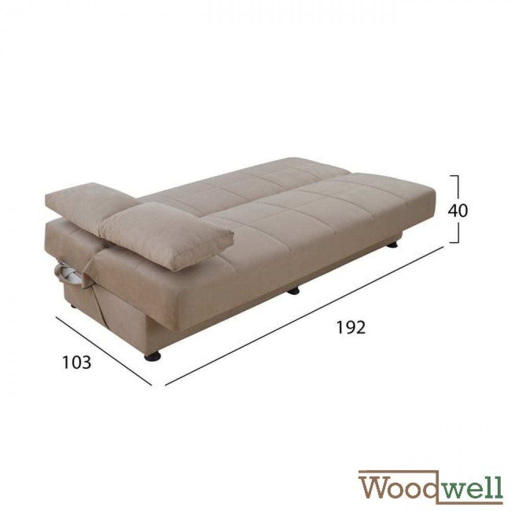 3 seater sofa bed with storage space | In beige