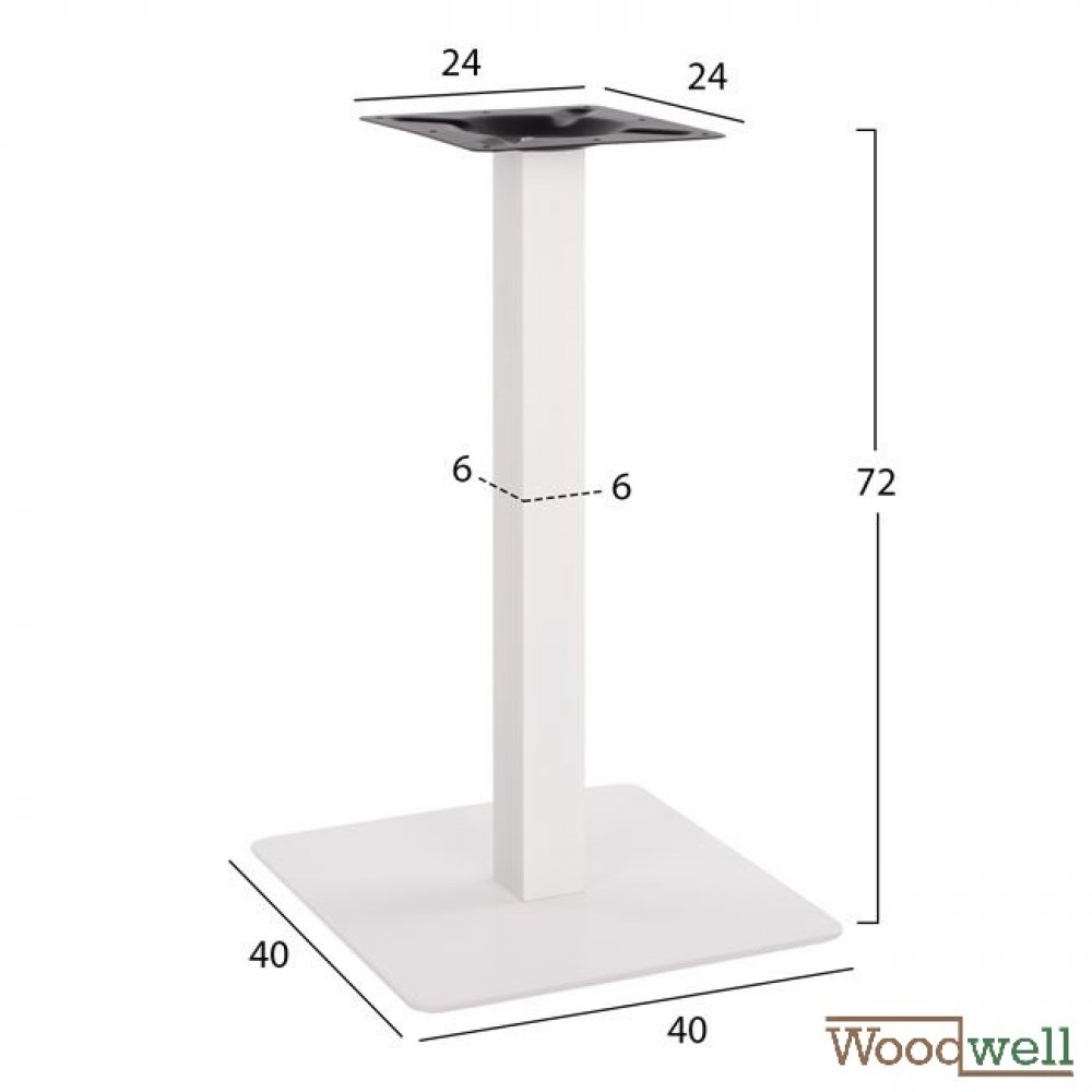Indoor and outdoor table base made of metal 40x40x72 cm | Matte white