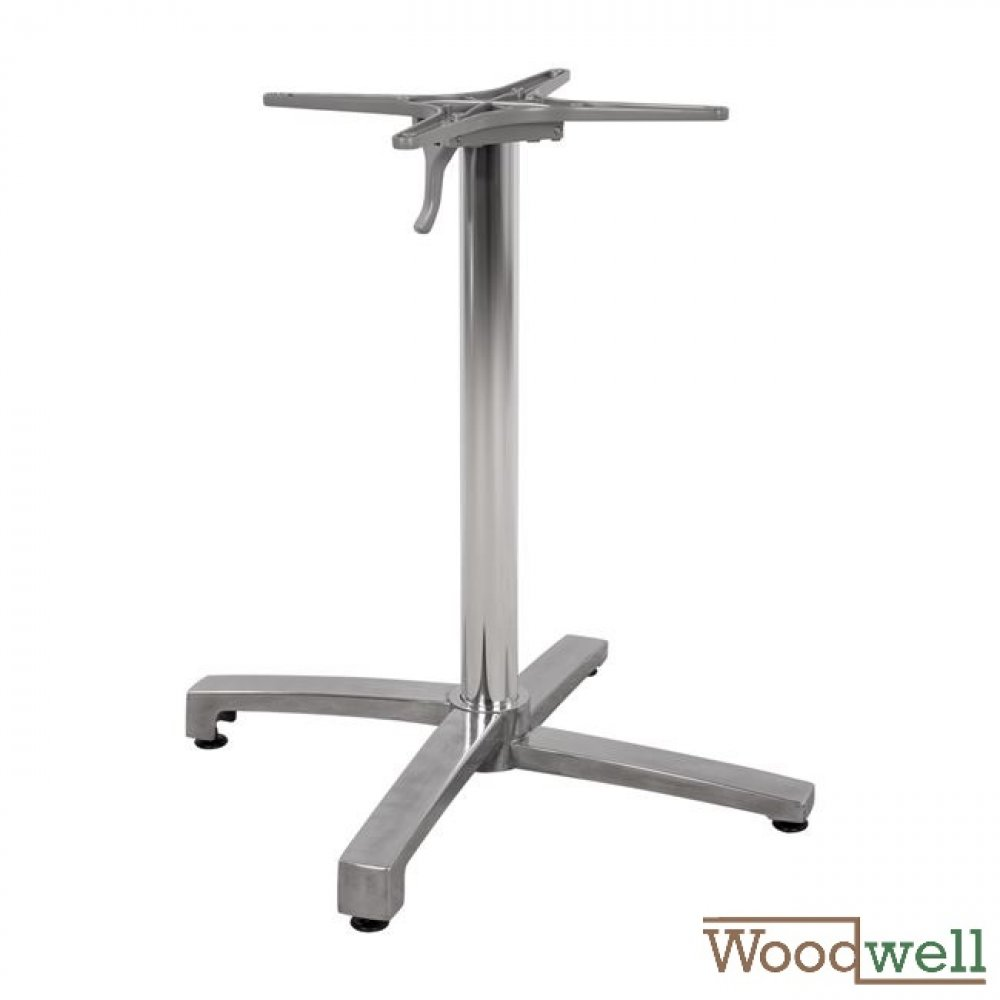 Chromed aluminum table base with folding bottom | Height 73 cm