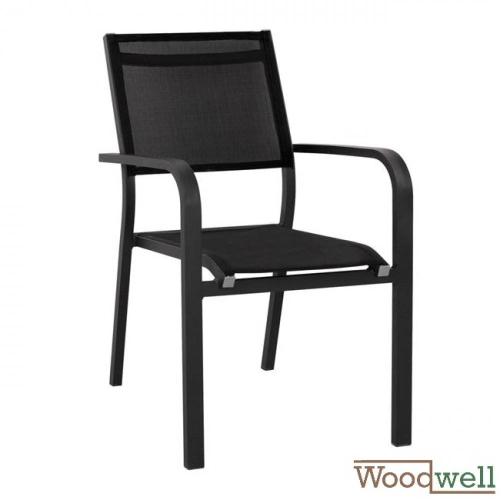 Eros, chair in black aluminum frame and black fabric