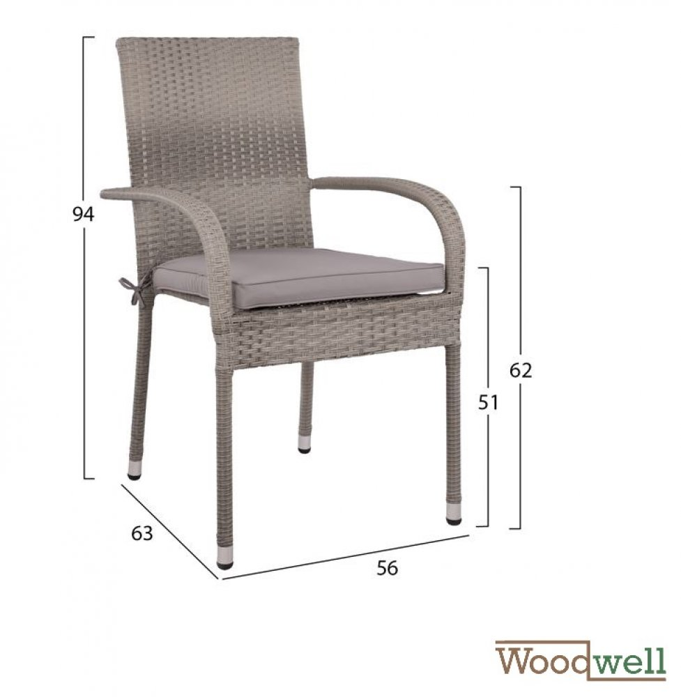 SAN DIEGO, 4-seat outdoor chair set, wicker / rattan, in gray