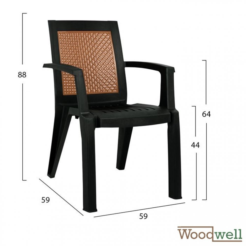 Outdoor Chairs buy cheap | Bistro and patio chair with armrests and woven backrest, in black