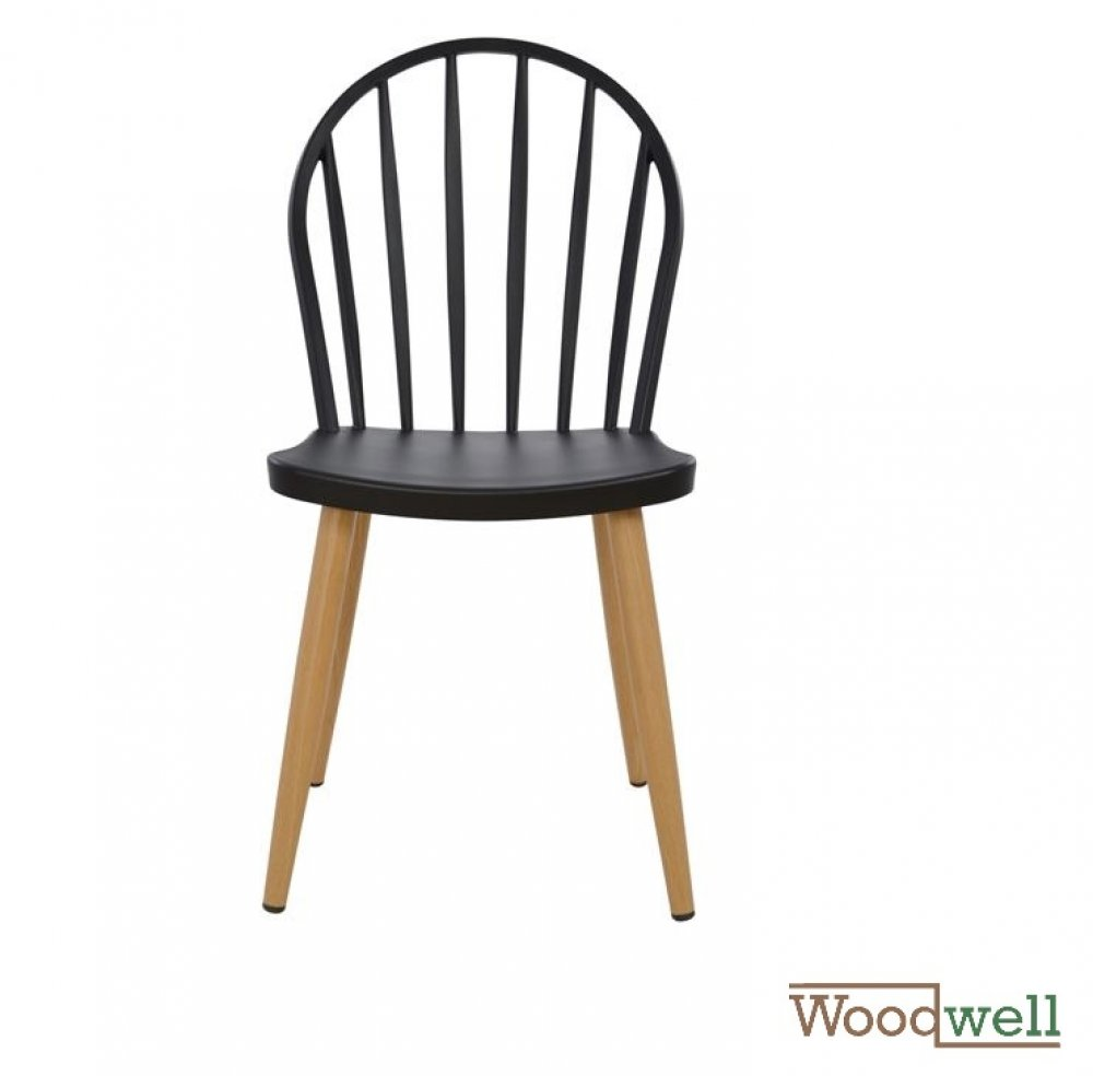 Modern Dining Chair with metal legs in natural wood finish, in black