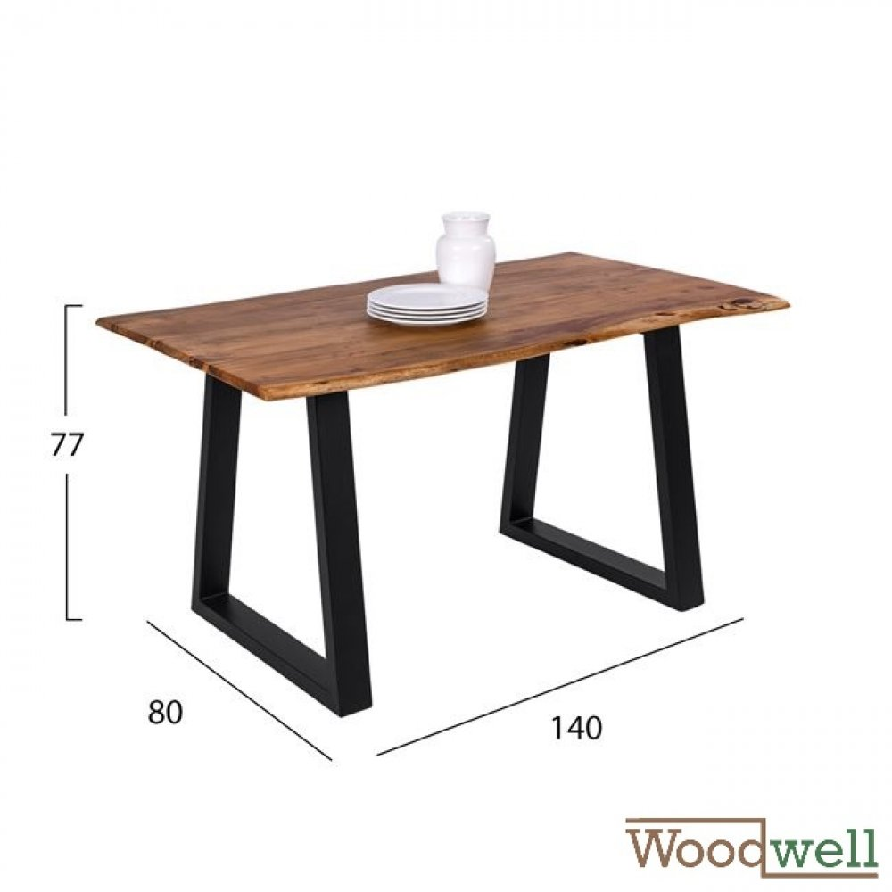 Solid acacia wood table 140x80x77Y cm | Tree trunk furniture