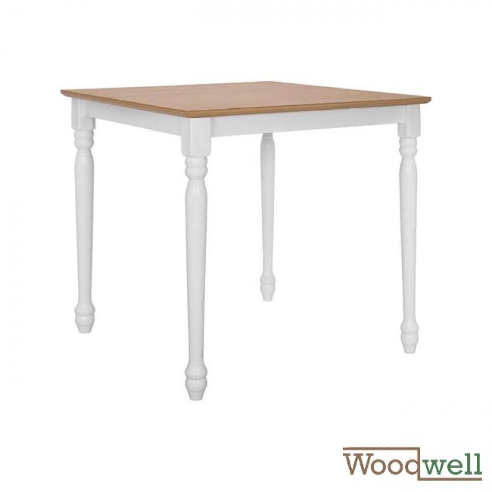 Classic wooden table with natural surface, white foot