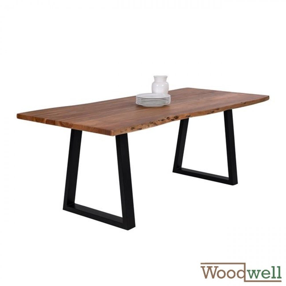 Solid acacia wood table 200x95x78Y cm | Tree trunk furniture