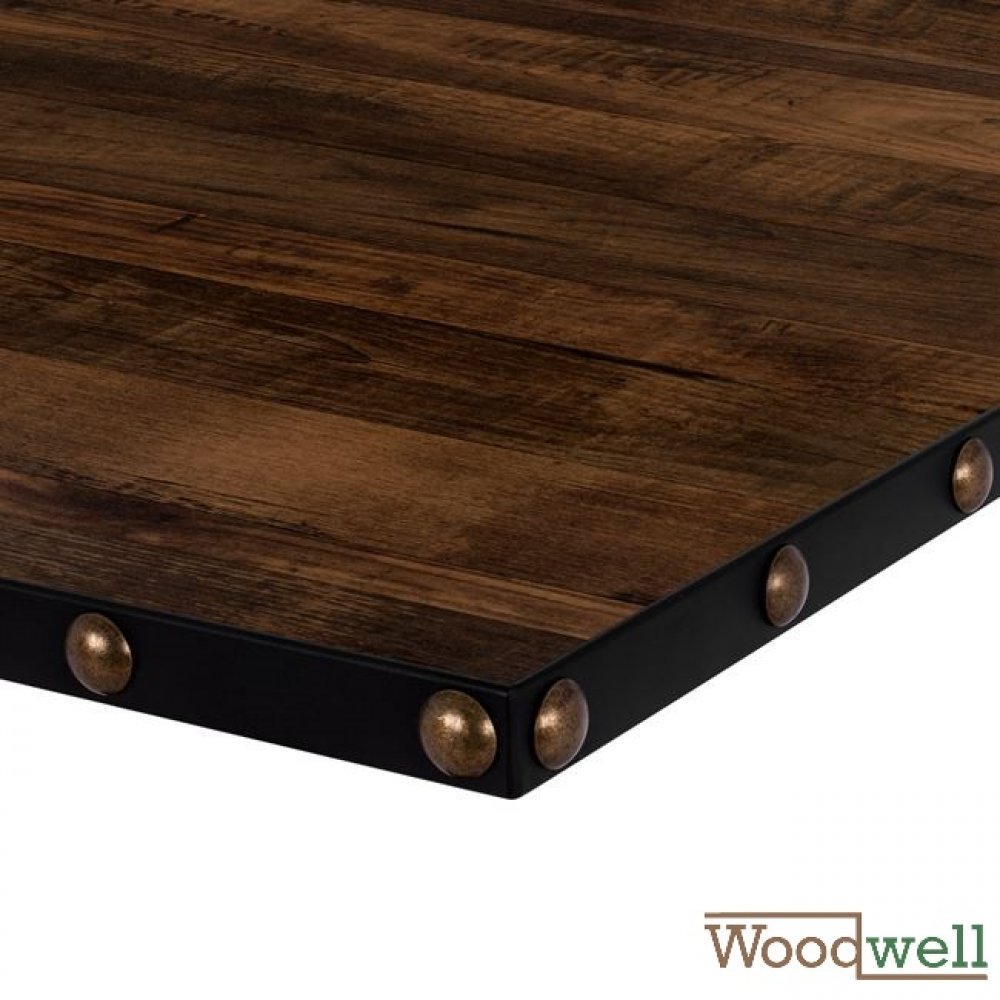 "Melamine 32 mm table tops with bronze applications buy cheap | Table top in ""Walnut"" 80x80 cm"