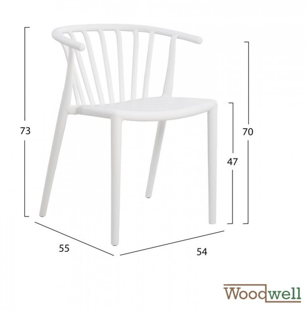 Contemporary polypropylene chair with armrests | In white