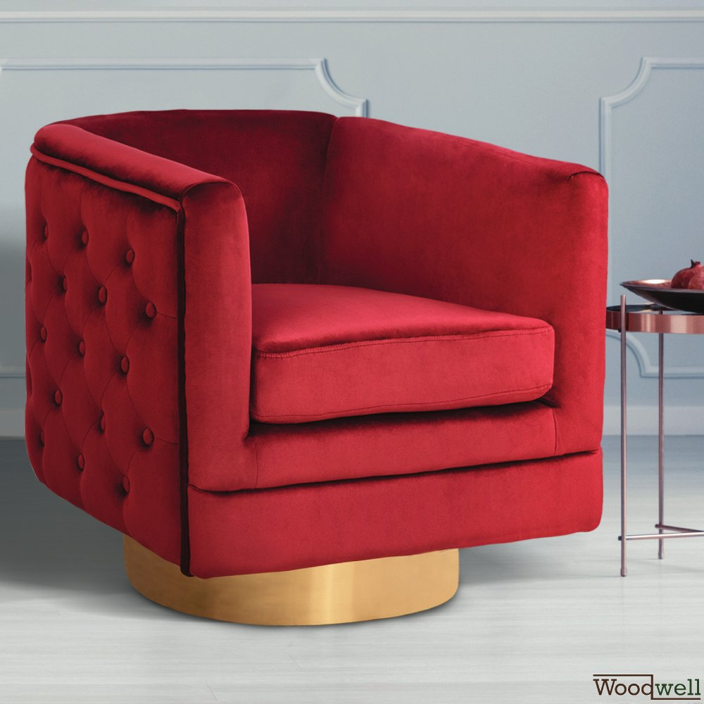Lounge cocktail chair Ophelia in red with a matt gold base