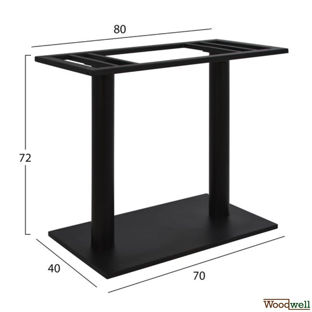 Indoor and outdoor metal table frame 40x70x72 cm | black
