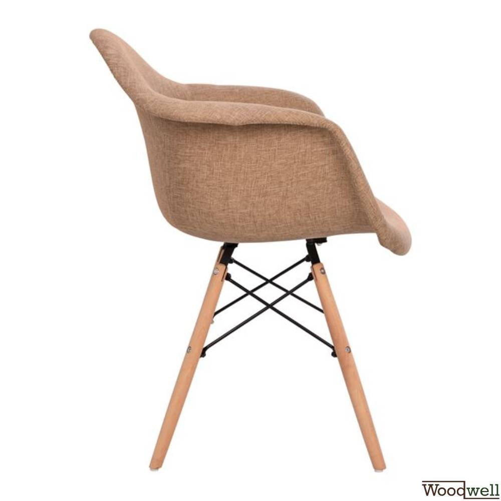 Designer shell chair MITRO with armrests and beige fabric seat