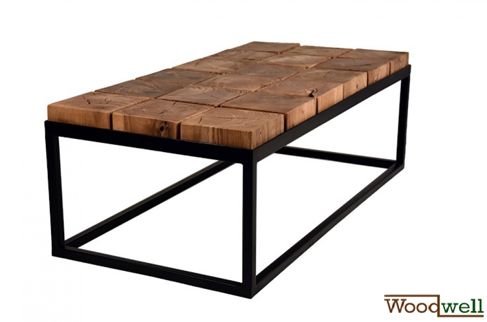 Design coffee table in acacia wood and black frame