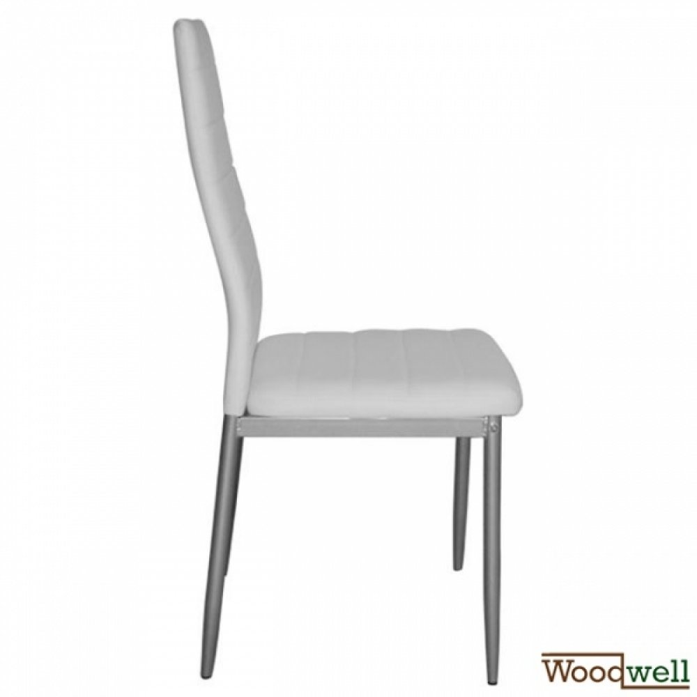Kitchen chair lady with white artificial leather and metall frame