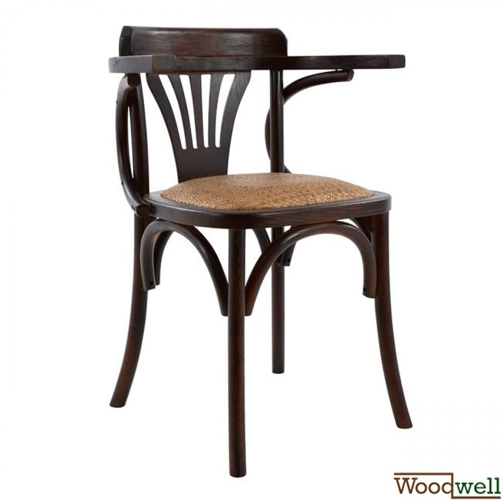 Wooden chair antique with straw seat in brown color