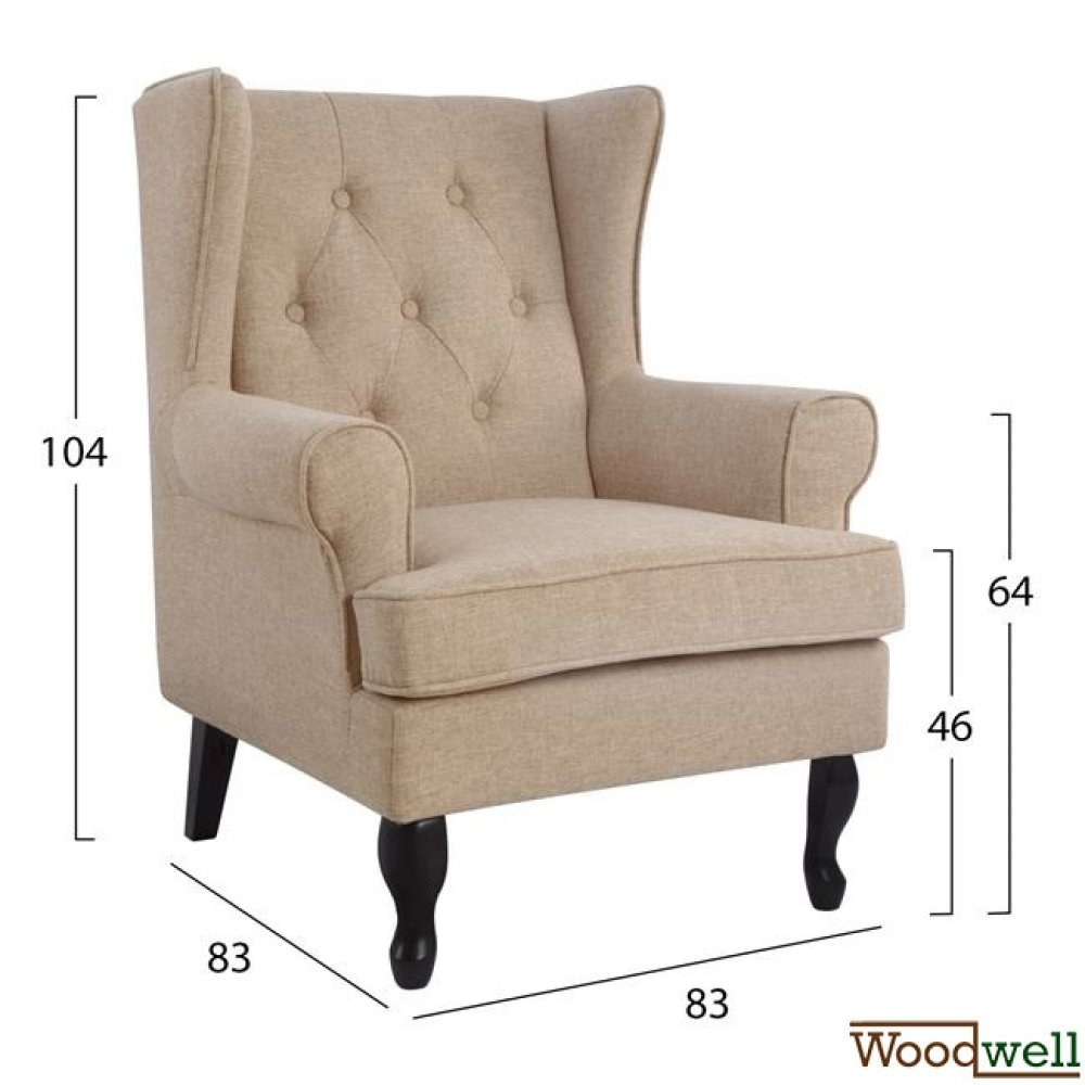 Armchair brandon with wooden legs and in beige color