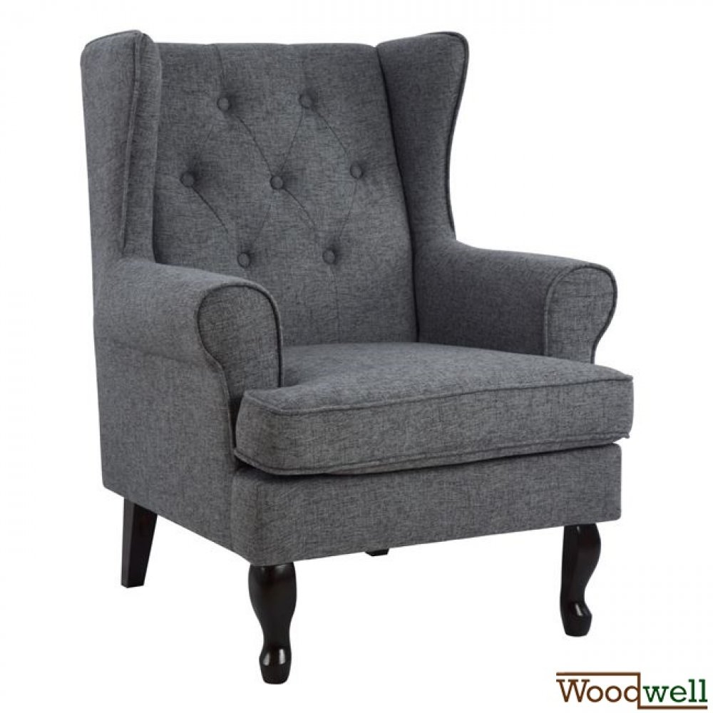 Armchair brandon with wooden legs and artificial leather in grey color