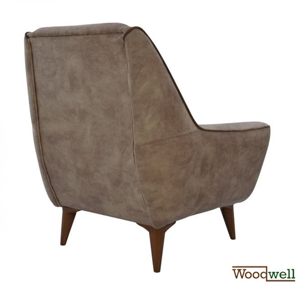 Armchair breeze with wooden legs and beige fabric