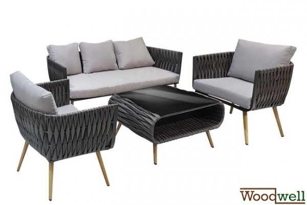 gartenm bel sofa set aluminium wicker rattan 4tlg grau. Black Bedroom Furniture Sets. Home Design Ideas
