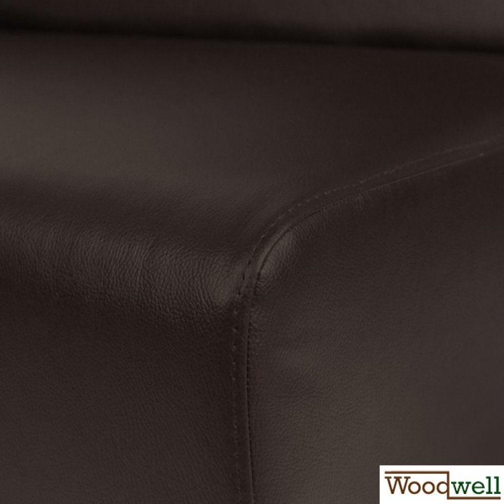 Synthetic leather bench with a noble design in brown